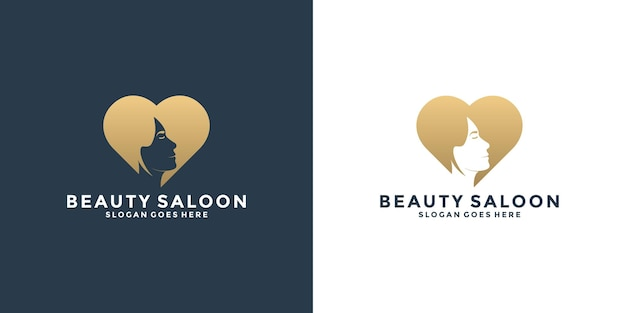 Femme de beauté avec création de logo de combinaison d'amour pour votre salon, spa, cosmétique