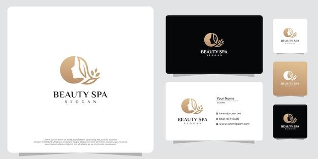 Femme de beauté féminine icône de conception de logo d'or et modèle de carte de visite
