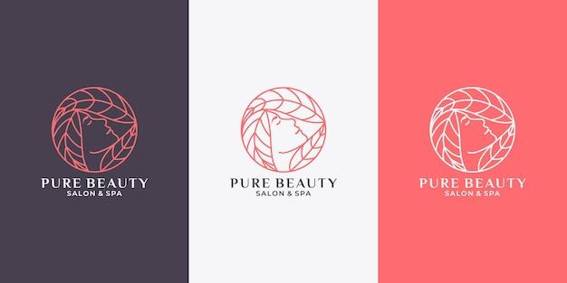 Femme de beauté avec modèle de conception de logo de feuille pour votre marque de cosmétiques, salon, spa