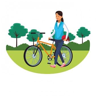 Femme, bicyclette, parcscape