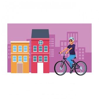 Femme, à, bicyclette, paysage urbain