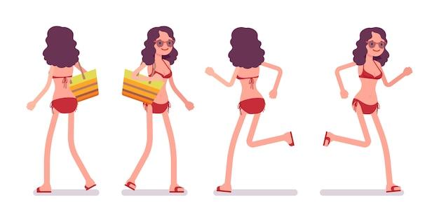 Femme, bikini, pose, courant