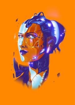 Une femme bionique futuriste.