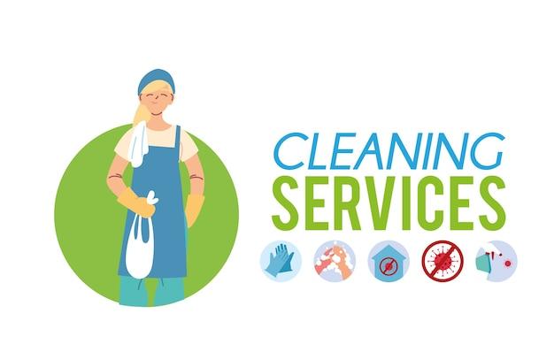 Femme blanche dans la conception d'illustration de service de nettoyage