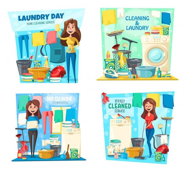 Femme, blanchisserie, nettoyage de la maison, vadrouille, aspirateur, balai