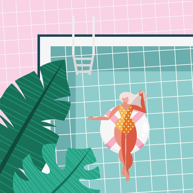 Femme blonde dans la piscine