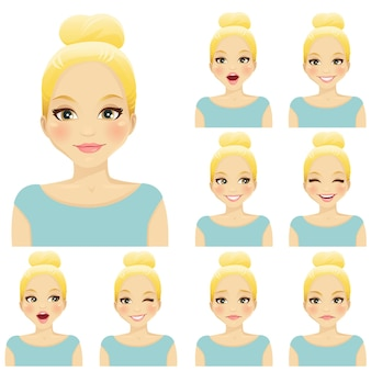 Femme blonde avec différentes expressions faciales définies