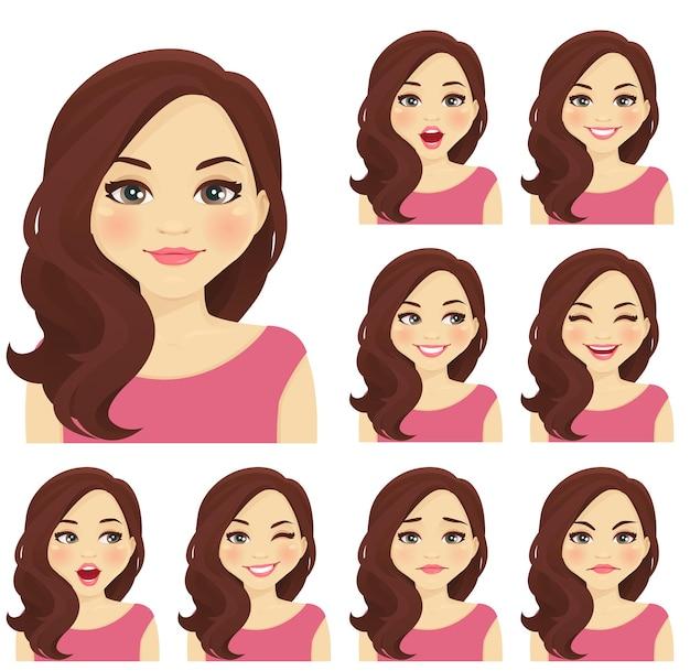 Femme blonde avec différentes expressions faciales isolées