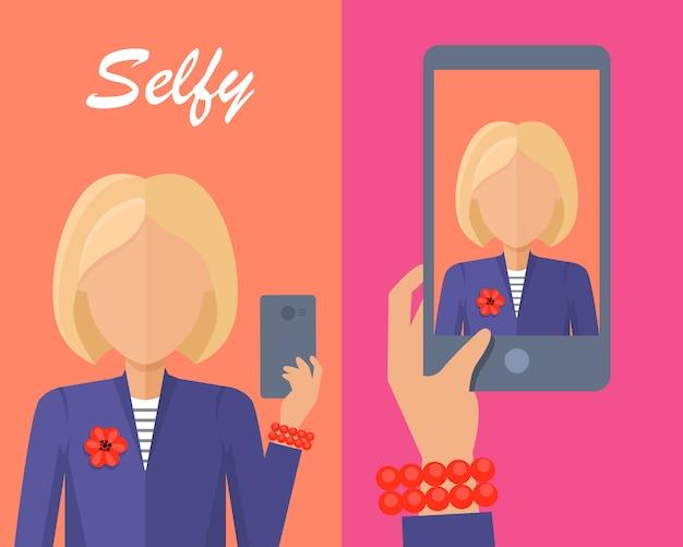 Femme blonde faisant selfie