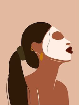 Femme boho abstraite moderne dans l'affiche de temps d'auto-soins de masque illustration féminine d'ashion dessinée à la main
