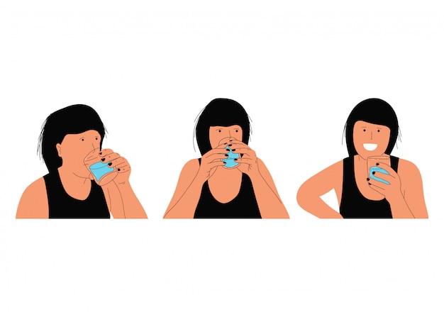 Femme boit de l'eau dans des personnages de dessins animés en verre vecteur isolé.