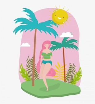 Femme bonjour vacances d'été