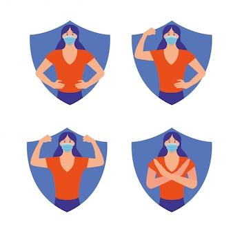 Femme en bonne santé protégée contre le virus avec un symbole de bouclier