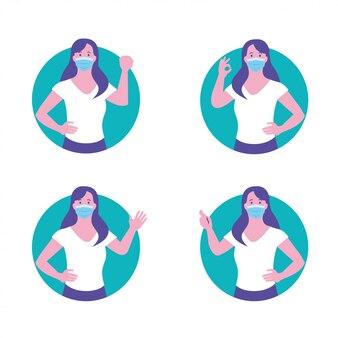 Femme en bonne santé protégée contre le virus