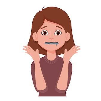 Femme avec bouche zippée
