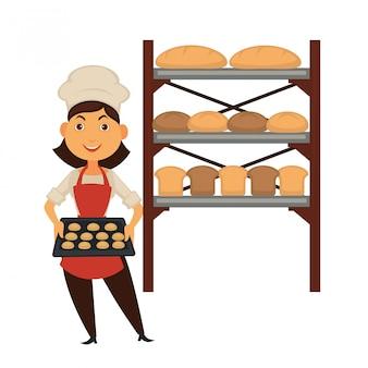 Femme boulangère avec plateau de biscuits et stand avec du pain