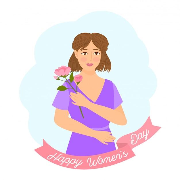 Femme avec bouquet de roses