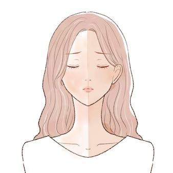 Femme bronzée avant et après. sur un fond blanc.