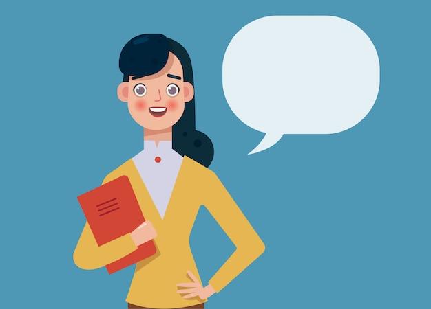 Une femme brune souriante regarde la caméra, à côté d'elle se trouve une bulle de texte. femme d'affaires fait une présentation, confiante, formation. consultation d'experts