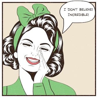 Femme avec bulle de discours