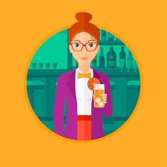 Femme buvant un cocktail orange au bar.