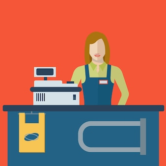 Femme de caissier de magasin de supermarché ou commis aux ventes au magasin