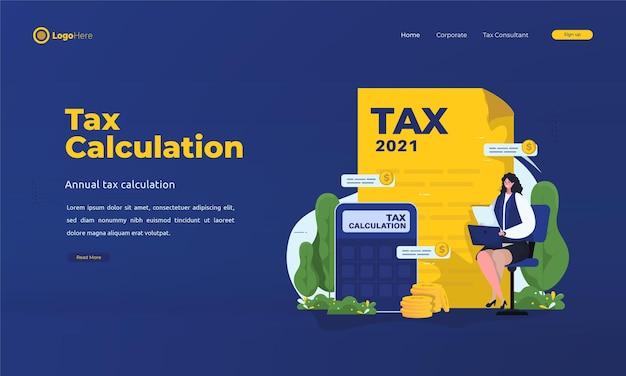 Femme calcule la page de destination du taux d'imposition 2021