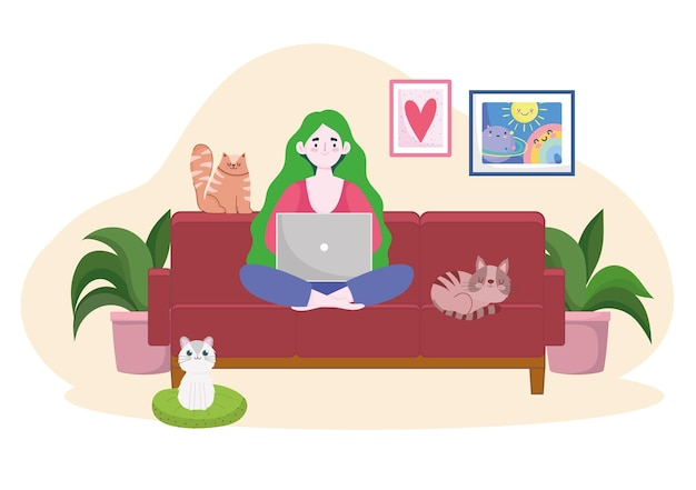 Femme sur canapé travaillant avec illustration de bureau à domicile ordinateur portable et chats