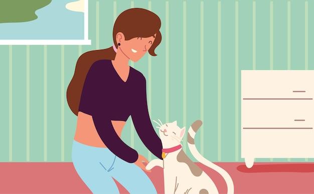 Femme caressant son chat