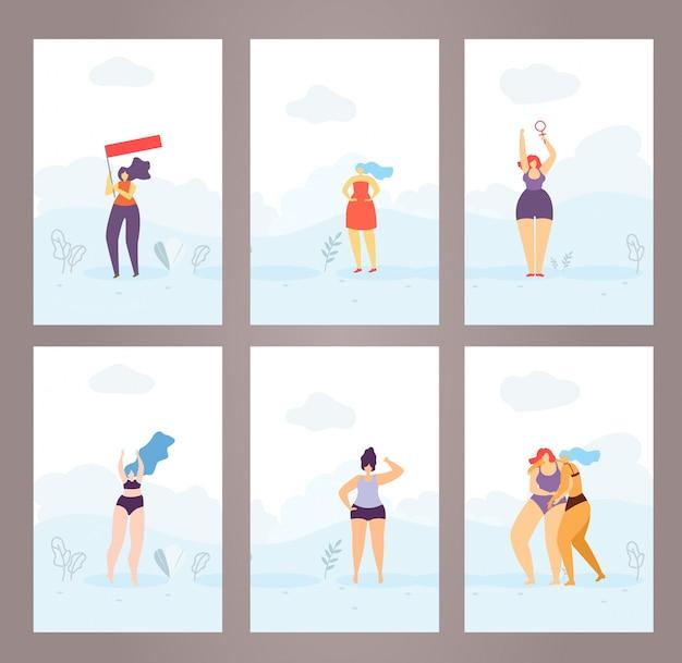 Femme cartes pages couvertures set style plat féministe