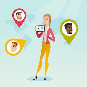 Femme caucasienne, tenue, tablette, à, réseau social