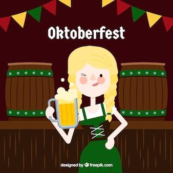 Femme célébrant la composition de l'oktoberfest avec un design plat