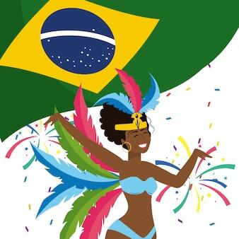 Femme, célébrer, brésil, carnaval, illustration vectorielle