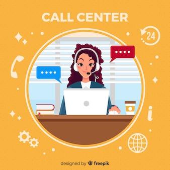 Femme en centre d'appels