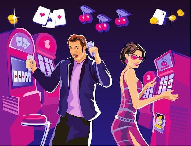 Femme chanceuse tenir des jetons de casino roulete casino intérieur machines à sous chance jeu réussi
