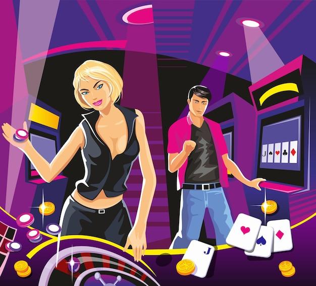 Une femme chanceuse tient des jetons de casino tout en faisant tourner la roulette de l'intérieur du casino chance jeu réussi