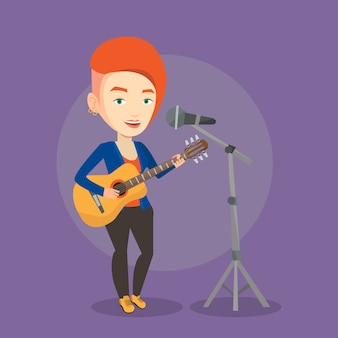 Femme, chant, microphone, jouer, guitare