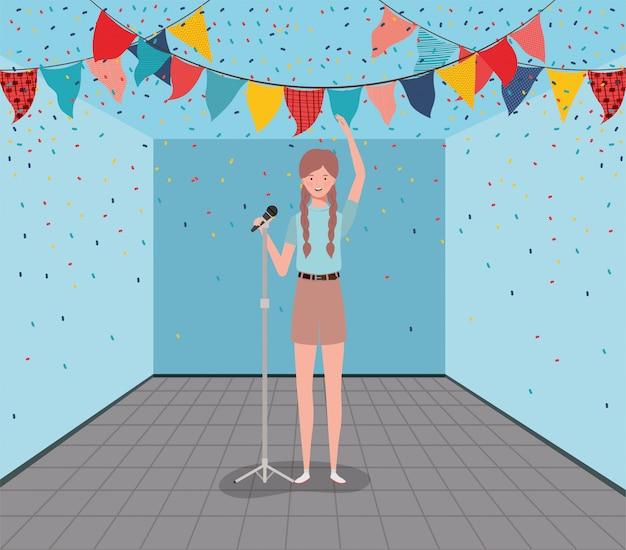 Femme, chanter, caractère, microphone