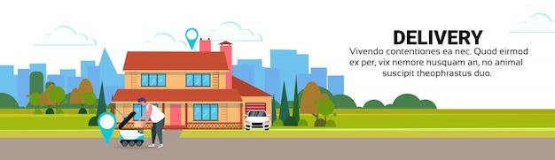 Femme chargement boîte robot auto conduire livraison rapide marchandises géo tag maison cour extérieur