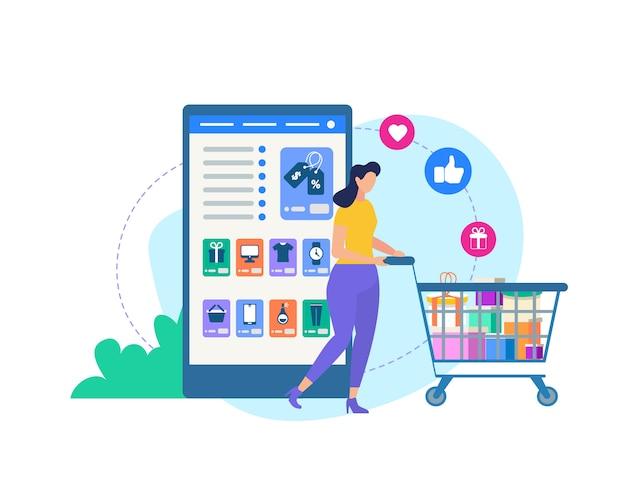 Femme avec chariot et application de boutique en ligne.