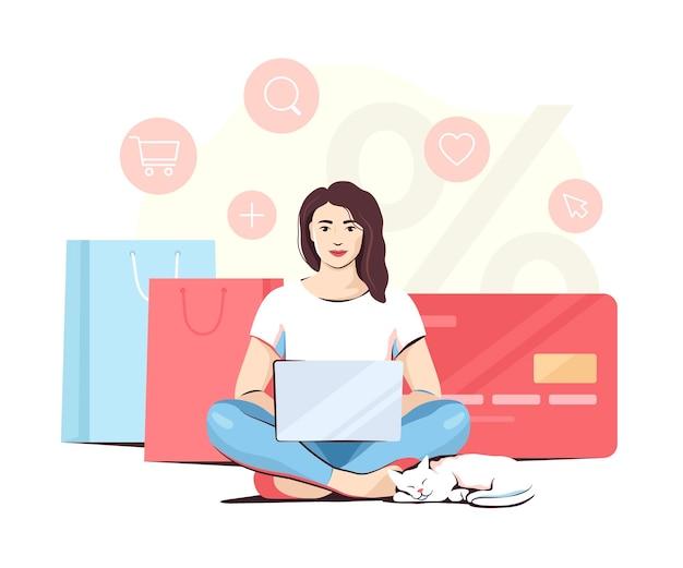 Femme avec un chat faisant des achats en ligne assis les jambes croisées, illustration vectorielle