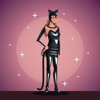 Femme chat en fête costumée en arrière-plan du projecteur