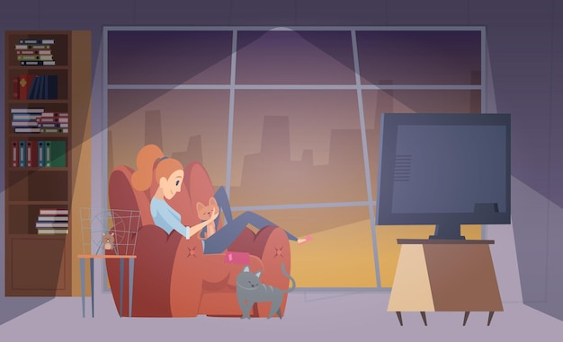 Femme et chats. fille heureuse dans le salon avec ses animaux de compagnie. illustration vectorielle femelle, chat et hamster