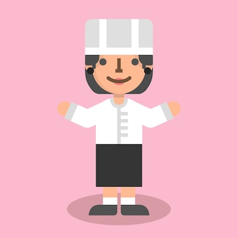 Femme chef plat