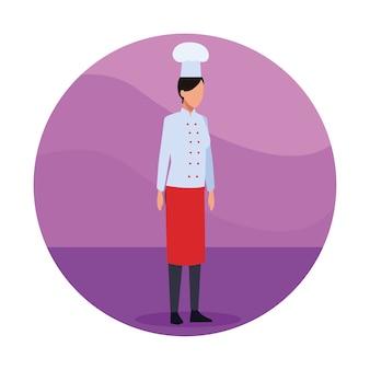 Femme chef travailleur
