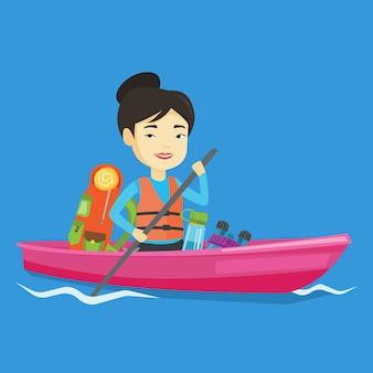 Femme à cheval en illustration de kayak.