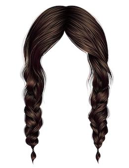 Femme cheveux couleur marron deux tresses