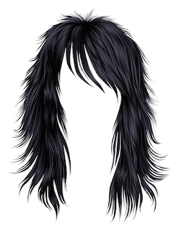 Femme cheveux longs brune couleurs noires.