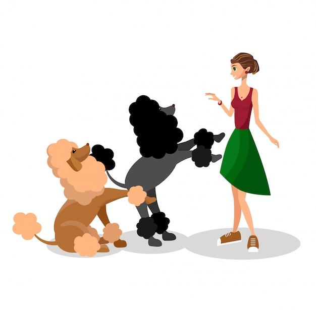 Femme avec des chiens