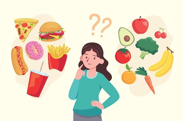Femme, choisir, nourriture, concept